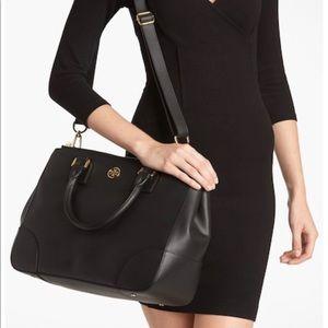 TORY BURCH || black double zip Robinson purse LRG